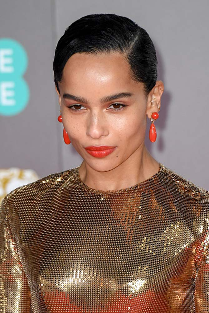Zoe Kravitz wore Sardinian coral earrings by Assael.