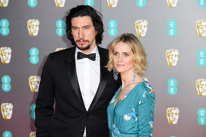 Adam Driver's wife Joanne Tucker wore sapphire and diamond earrings by SABBA.