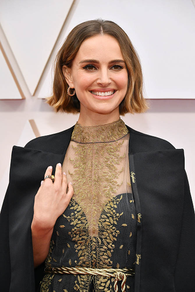 Natalie Portman wore jewels by Cartier with her Dior jacket that had the names of female directors who have not been nominated for an Oscar.
