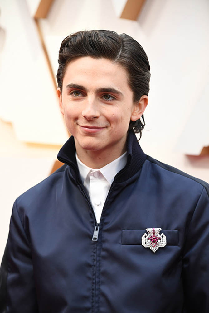 Timothée Chalamet in Cartier brooch