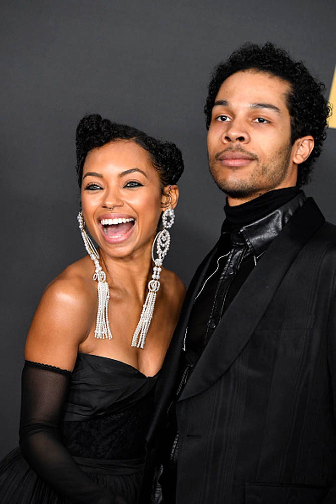Keith Browning with Logan Browning wearing Prabal Gurung's designs for Tasaki. Photo Getty