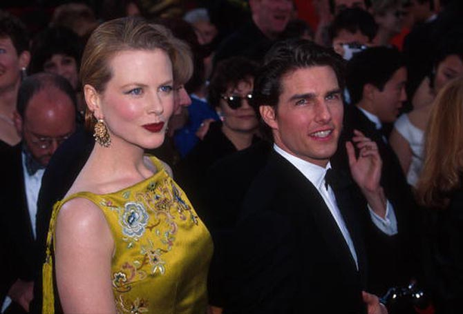 "297633 23: Actor Tom Cruise and wife actress Nicole Kidman attend the Academy Awards March 24, 1997 in Los Angeles, CA. Cruise earned a 1997 Best Oscar nomination for his title role in ""Jerry Maguire."" (Photo by Russell Einhorn/Liaison)"