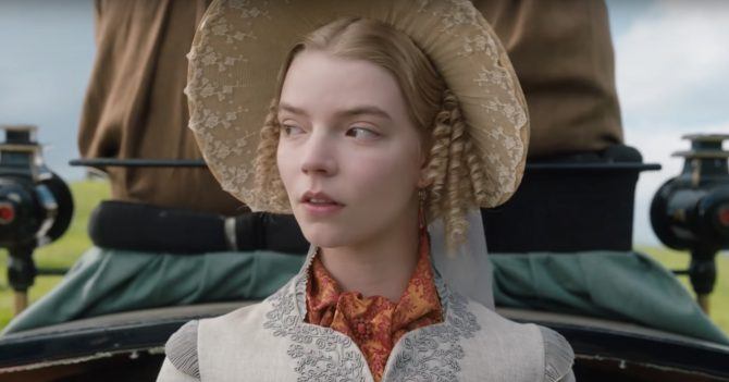 Emma (Anya Taylor-Joy) wearing a coral cluster brooch and amber earrings. Photo Focus Features