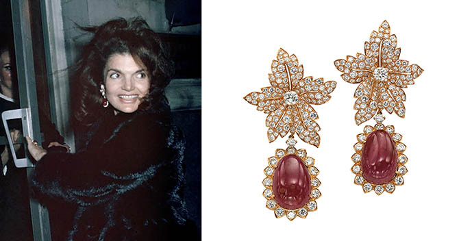 On September 28, 1970, Jackie Kennedy-Onassis wore her Van Cleef & Arpels earrings to dine at La Cote Basque in New York City. Photo by Ron Galella/Getty Images; © Christie's Images / Bridgeman Images