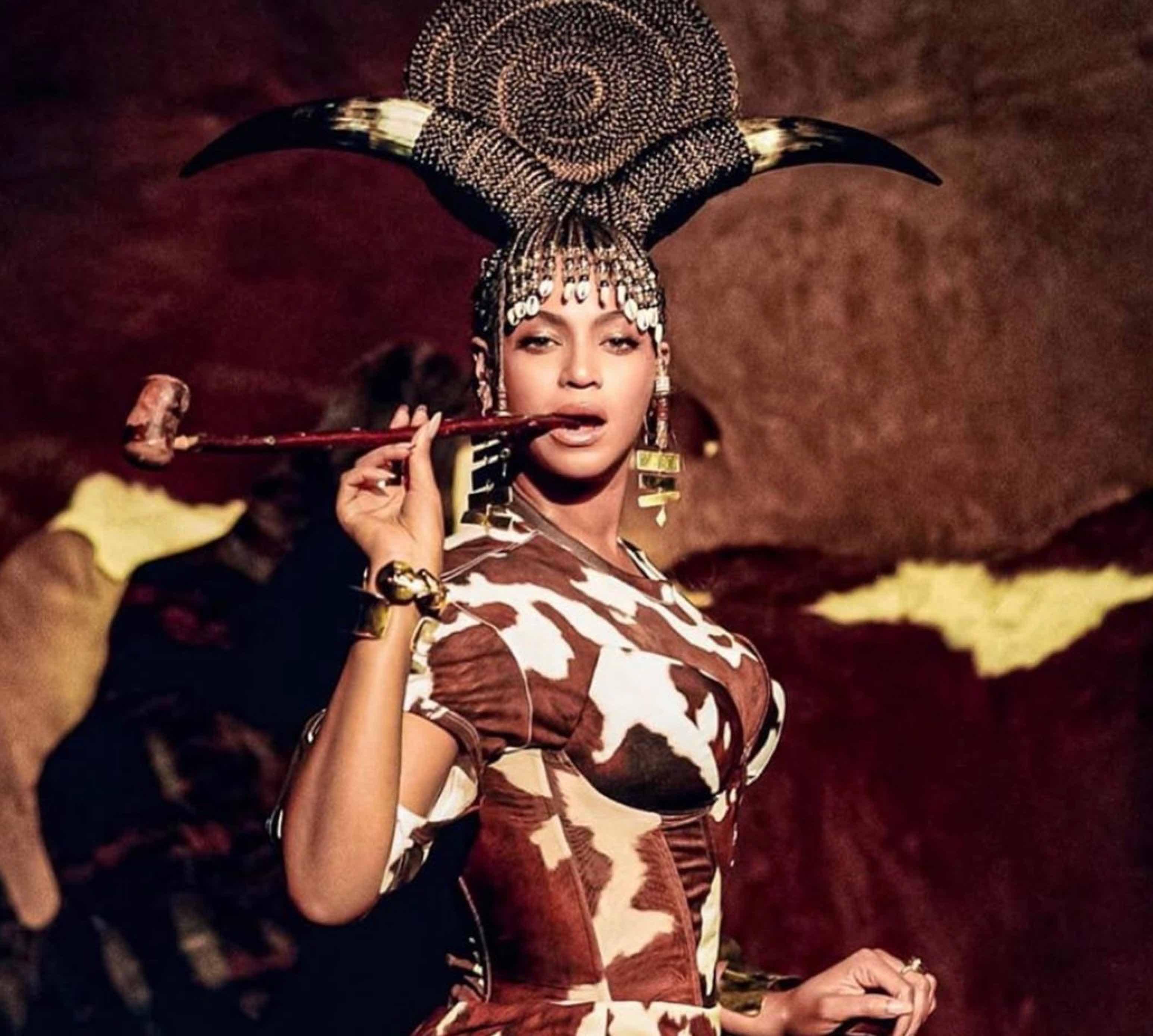 Beyonce wearing Arian Boussard-Reifel earrings in Black Is King